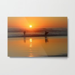 Surfing at Sunset Sea Beach Metal Print