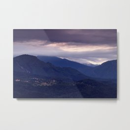 Alpine village at sunrise Metal Print