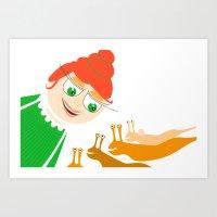 girl and snails Art Print