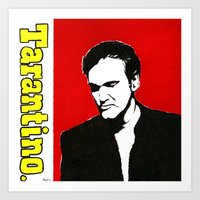 quentin tarantino Art Prints featuring Quentin Tarantino in Color by Carolyn Campbell