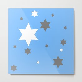 SIMPLY GREY & WHITE STARS ON BABY BLUE DESIGN Metal Print