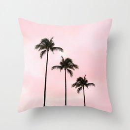 Palm Tree Photography Peach   Blush Pink   Millennial Pink   Miami Throw Pillow