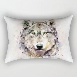 Wolf Head Watercolor Portrait Rectangular Pillow