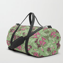 Purple Shamrock Floral Layered Pattern / Green Duffle Bag