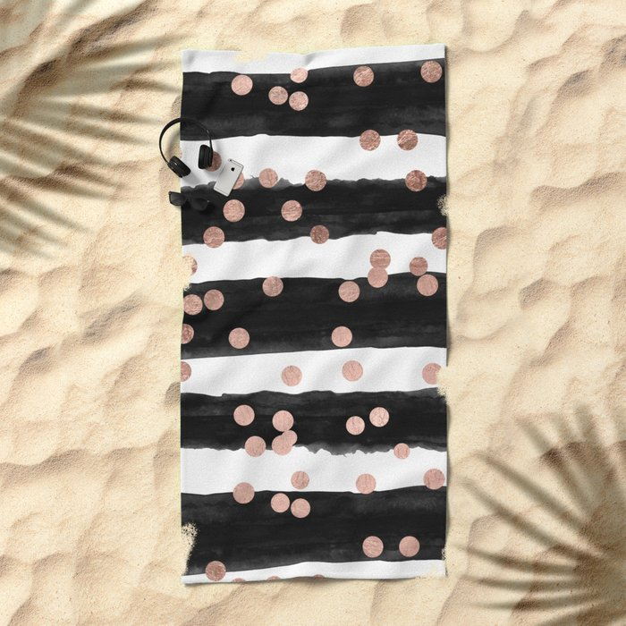 Girly rose gold confetti black watercolor stripes Beach Towel