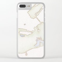 Cayo Hueso Watercolor Map Clear iPhone Case