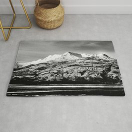 Black and White Mountain Photography Print Rug