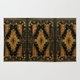 Black and Gold Floral Book Rug