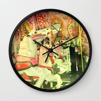 carousel Wall Clocks featuring Carousel by elle moss