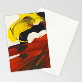 Face on Yellow Crying Red Stationery Cards