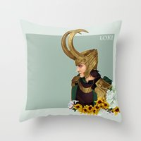 loki Throw Pillows featuring Loki by tsunami-sand