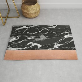 Black marble and pink copper Rug