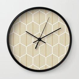 Golden Hexagons Wall Clock