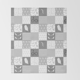 Magic Private School cheater quilt patchwork wizarding witches and wizards Throw Blanket