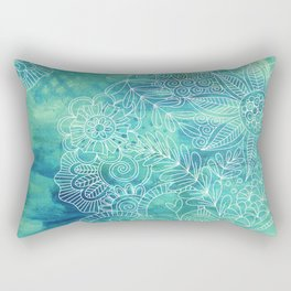 Green Abstract with Doodles Rectangular Pillow