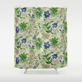 Alpine Flowers - Gentian, Edelweiss Shower Curtain