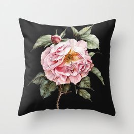 Wilting Pink Rose Watercolor on Charcoal Black Throw Pillow
