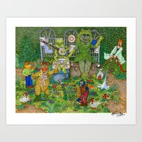 muppets Art Prints featuring Gardening Muppets by Katherine Mary