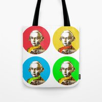 mozart Tote Bags featuring Mozart Kugeln 4c by Marko Köppe