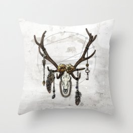 Bestial Crowns: The Elk Throw Pillow