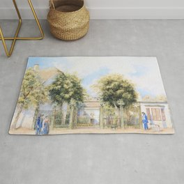 Franz Alt - View of a Biedermeier house, people promenading in front of it - Digital Remastered Edition Rug