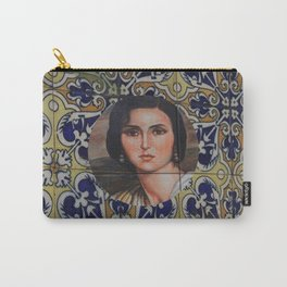 Spain 46 - Woman in Madrid with mosaic on the wall Carry-All Pouch