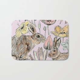 rabbits and flowers with color Bath Mat