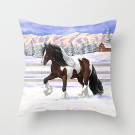 Brown and White Bay Pinto Skewbald Gypsy Vanner Draft Horse In Snow Throw Pillow