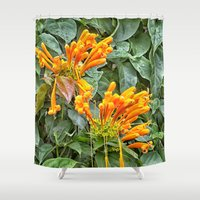 trumpet Shower Curtains featuring Orange trumpet flower by Wendy Townrow