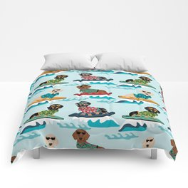 dachshund surfing dog breed pattern pet gifts Comforters