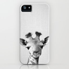 Baby Giraffe - Black & White iPhone Case