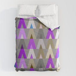 Geometric Triangles | purple grey Comforters