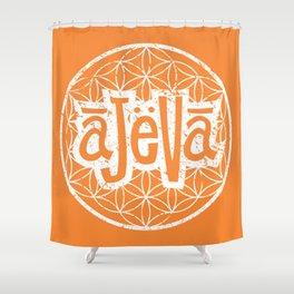 Ajeva Logo Orange Shower Curtain