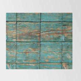 Rustic Teal Boards (Color) Throw Blanket