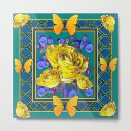 TEAL BLUE ART & YELLOW ROSE BLUE MORNING GLORY FLOWERS Metal Print