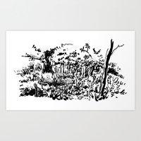 sketch Art Prints featuring sketch by geoffroy dussart