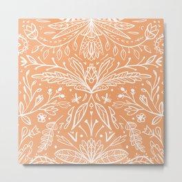 Modern folk art ornaments white on orange Metal Print