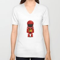 2001 a space odyssey V-neck T-shirts featuring 2001 Space Odyssey Red Suit by Scientee