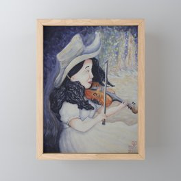 Woman's Autumnal Twilight Serenade,violin in the forest, watercolor painting Framed Mini Art Print