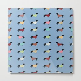 Dachshund Pattern with Blue Sweaters #708 Metal Print