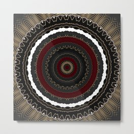 Rich Red and Gold Flower Mandala Metal Print