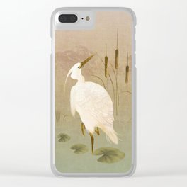 White Heron in Bulrushes Clear iPhone Case