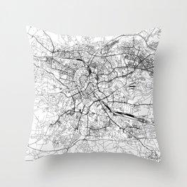 Krakow White Map Throw Pillow