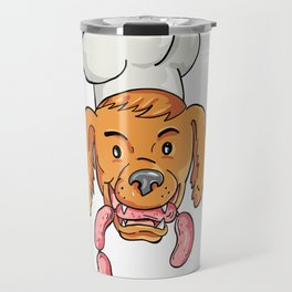Chef Dog Biting Sausage String Cartoon Color Travel Mug