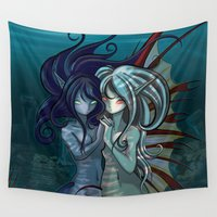 manga Wall Tapestries featuring Fantasy style Anime / Manga mermaids by Tazmaa's Anime & Illustration Studio