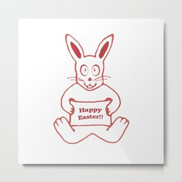 Cute Bunny Happy Easter Drawing in Red and White Colors Metal Print