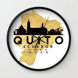 QUITO ECUADOR SILHOUETTE SKYLINE MAP ART Wall Clock