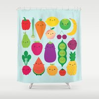 marceline Shower Curtains featuring 5 A Day by Marceline Smith