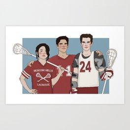 Scott McCall/Stiles Stilinski/Kira Yukimura Lacrosse Art Print