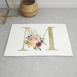 M Monogram Gold Foil Initial with Watercolor Flowers Rug